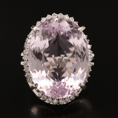 Platinum 32.80 CT Kunzite and Diamond Ring