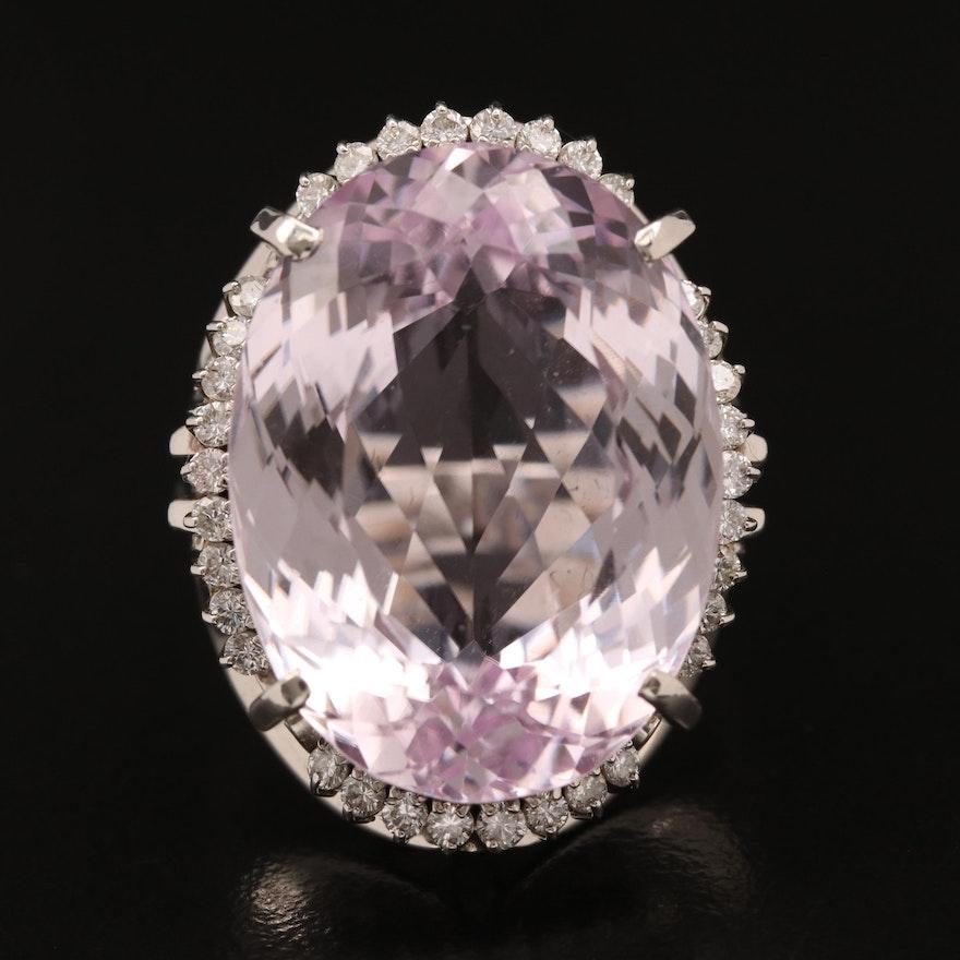 Platinum 32.80 CT Kunzite and Diamond Ring