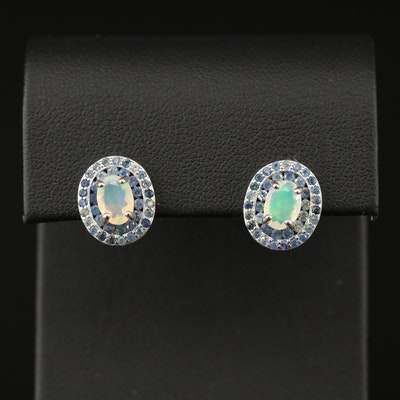 Sterling Opal and Tanzanite Earrings