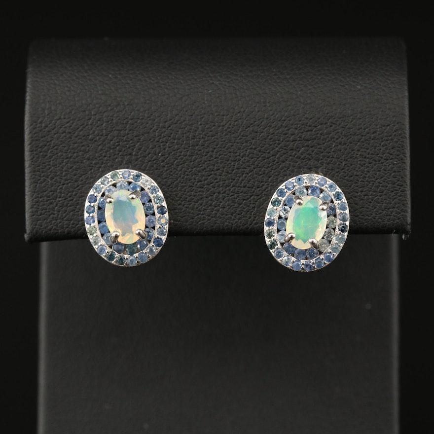 Sterling Opal and Tanzanite Earrings