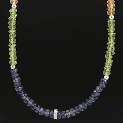 Sterling Iolite, Peridot and Garnet Beaded Necklace