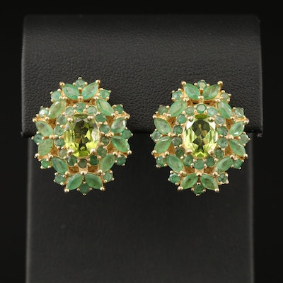 Sterling Peridot and Emerald Drop Earrings