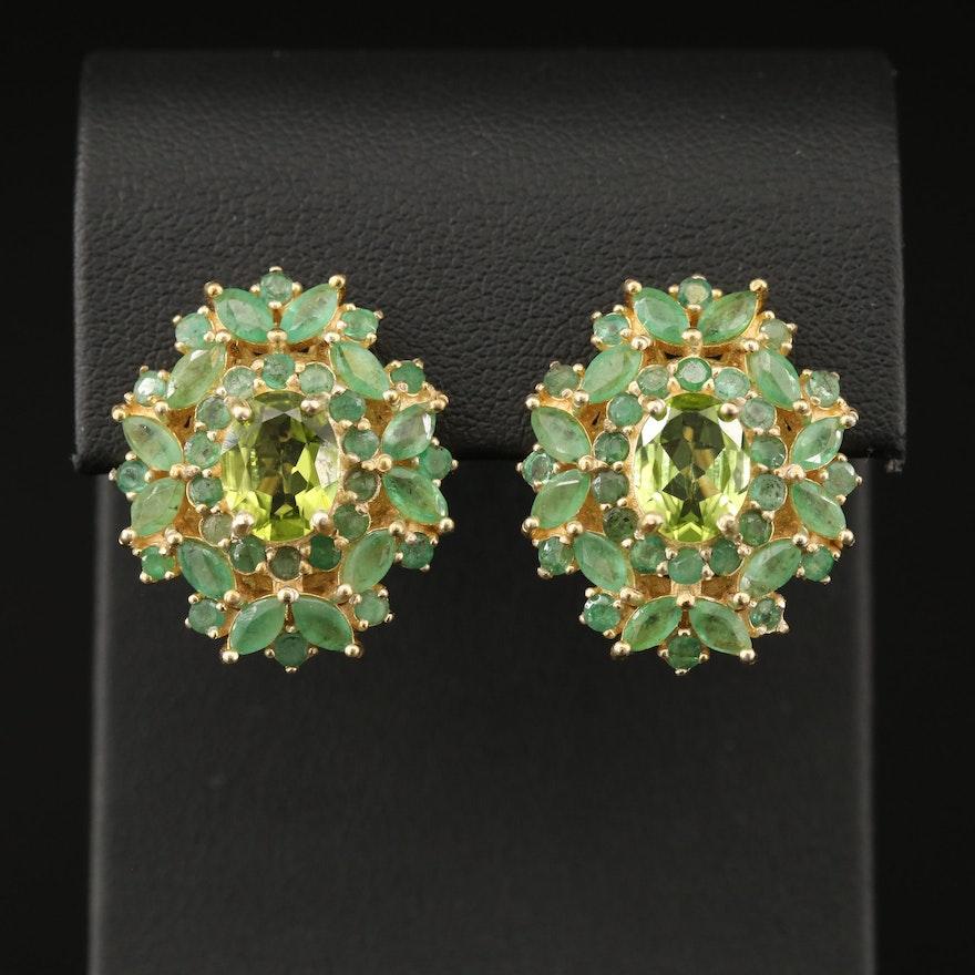 Sterling Peridot and Emerald Drop Earrings