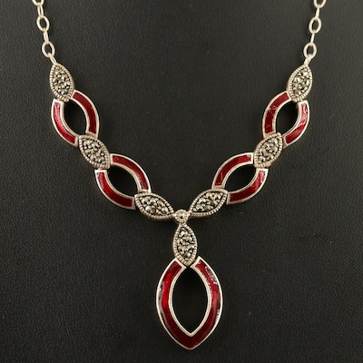 Sterling Silver Enamel and Marcasite Necklace with Triquetra Design