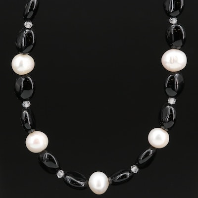 Sterling Black Onyx, Pearl and Topaz Beaded Necklace