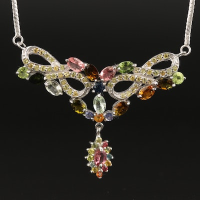 Sterling Tourmaline, Sapphire and Peridot Drop Necklace