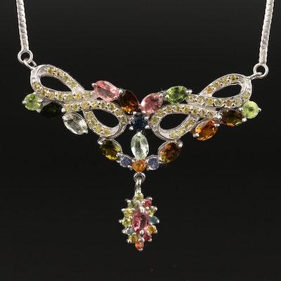 Sterling Tourmaline, Sapphire and Peridot Drop Necklace