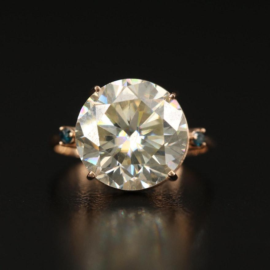 14K Moissanite and Diamond Ring