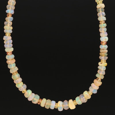 Opal and Sapphire Beaded Necklace with Gold Filled Clasp