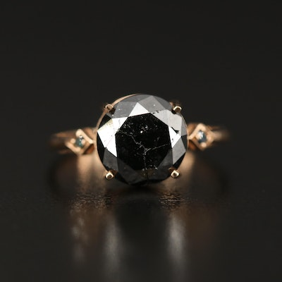 14K Diamond Ring Featuring 3.34 CT Black Diamond Center