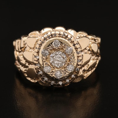 14K Diamond Ring with Nugget Design
