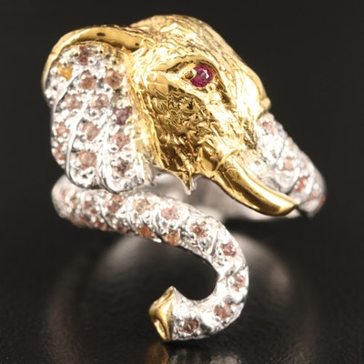 Sterling Silver Sapphire and Rhodolite Garnet Elephant Bypass Ring