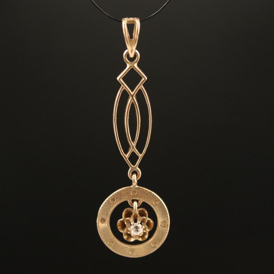 Arts and Crafts 10K Diamond Pendant