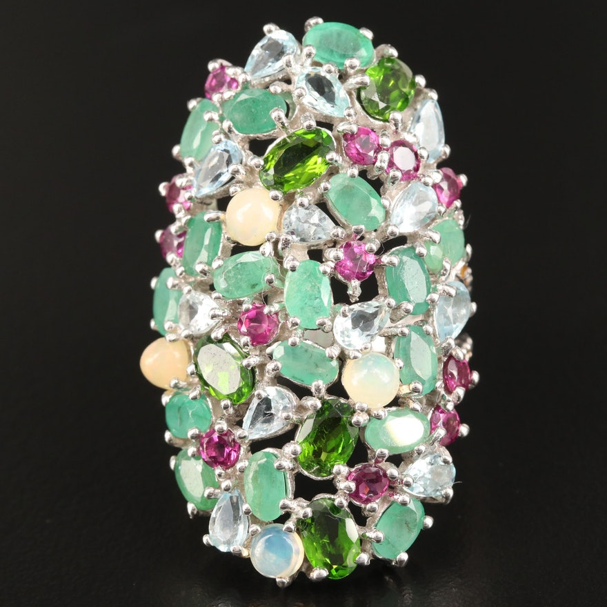 Sterling Silver Emerald, Opal and Diopside Domed Cluster Ring