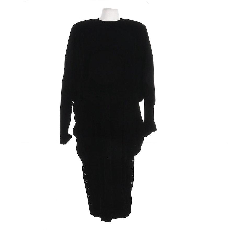 Norma Kamali Velvet Drop-Waist Dolman Sleeve Dress, 1980s