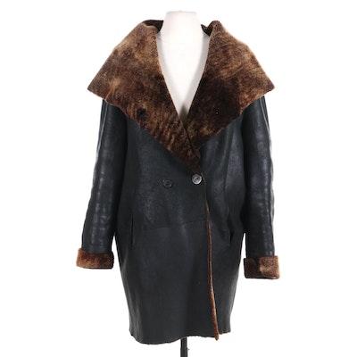 Sylvie Schimmel Lambskin Shearling Shawl Collar Coat, Made in France