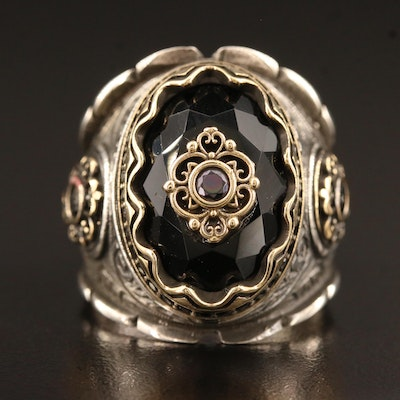 Sterling Silver Spinel and Glass Ring with Stamp Work Design
