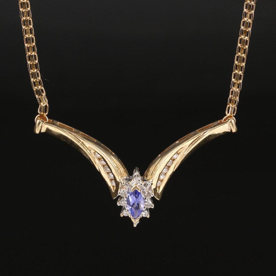 14K Tanzanite and Diamond Stationary Pendant Necklace