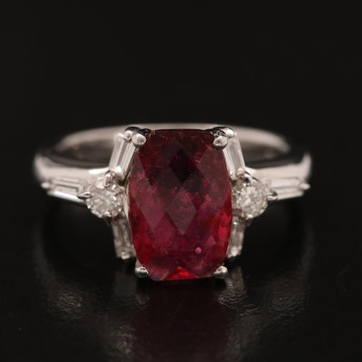 Platinum 2.26 CT Tourmaline and Diamond Ring with Center Stone GIA Report
