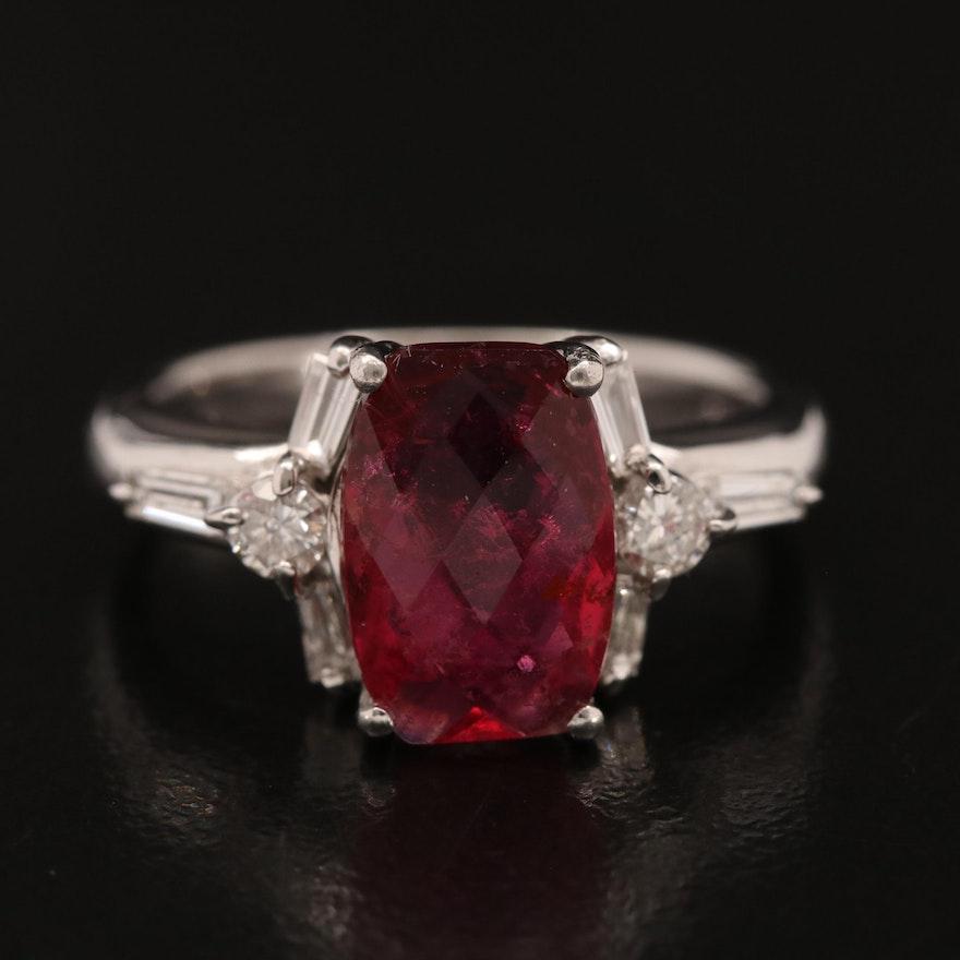Platinum 2.26 CT Tourmaline and Diamond Ring with Center Stone GIA Report
