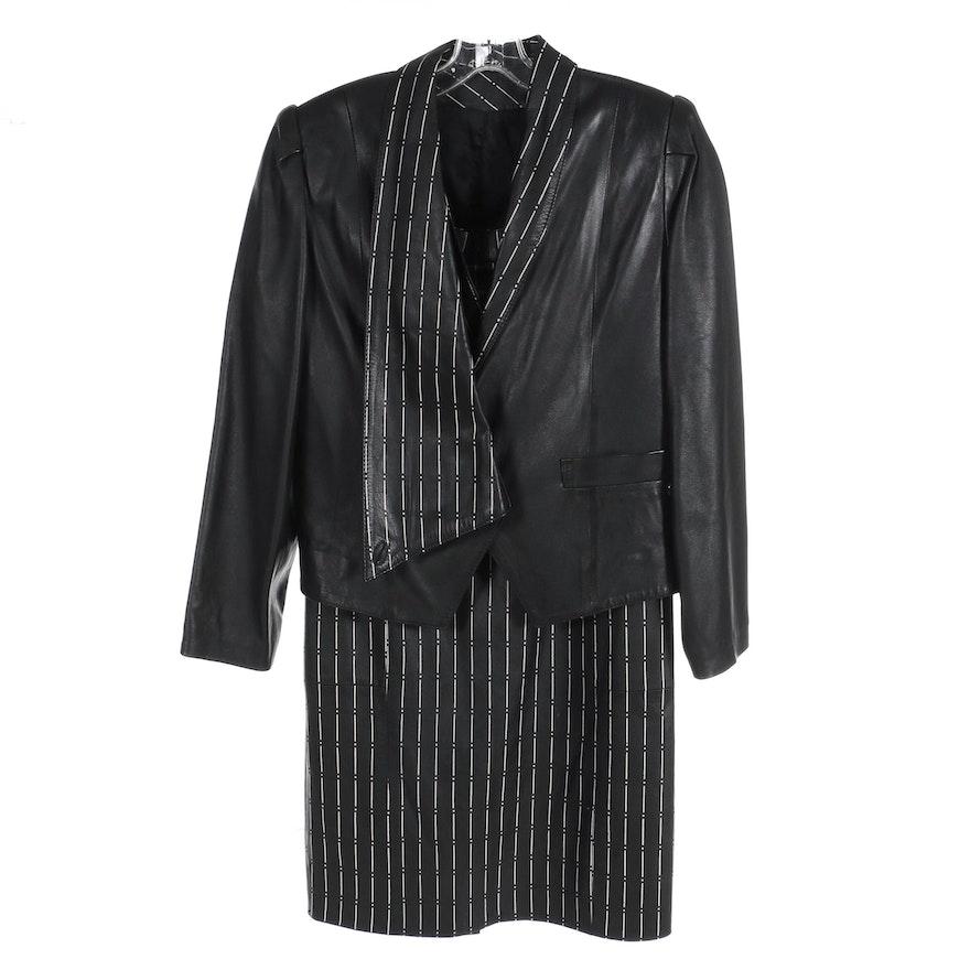 Ipek Deri Women's Painted Leather Three-Piece Skirt Suit, 1980s