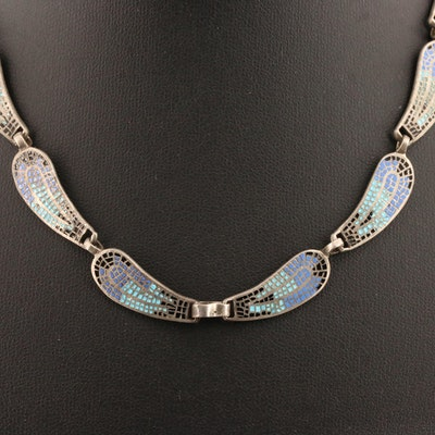 Attributed to Margot de Taxco Vintage 'Wave Circle' Sterling Champlevé Necklace