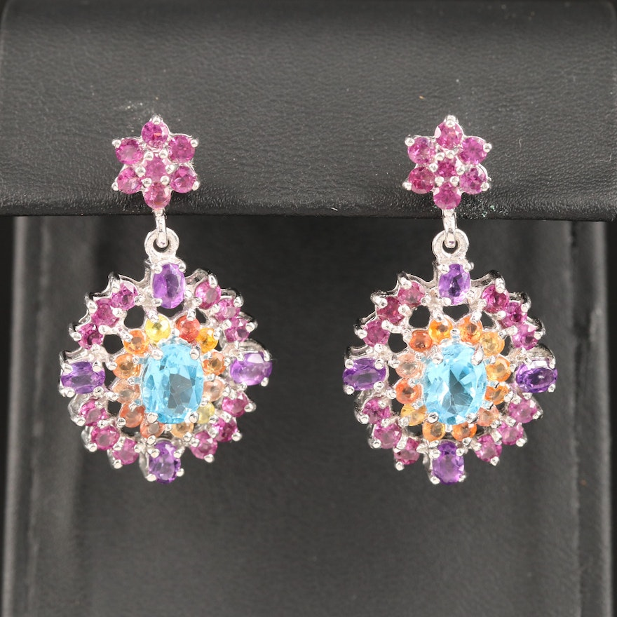 Sterling Topaz, Amethyst and Sapphire Cluster Earrings