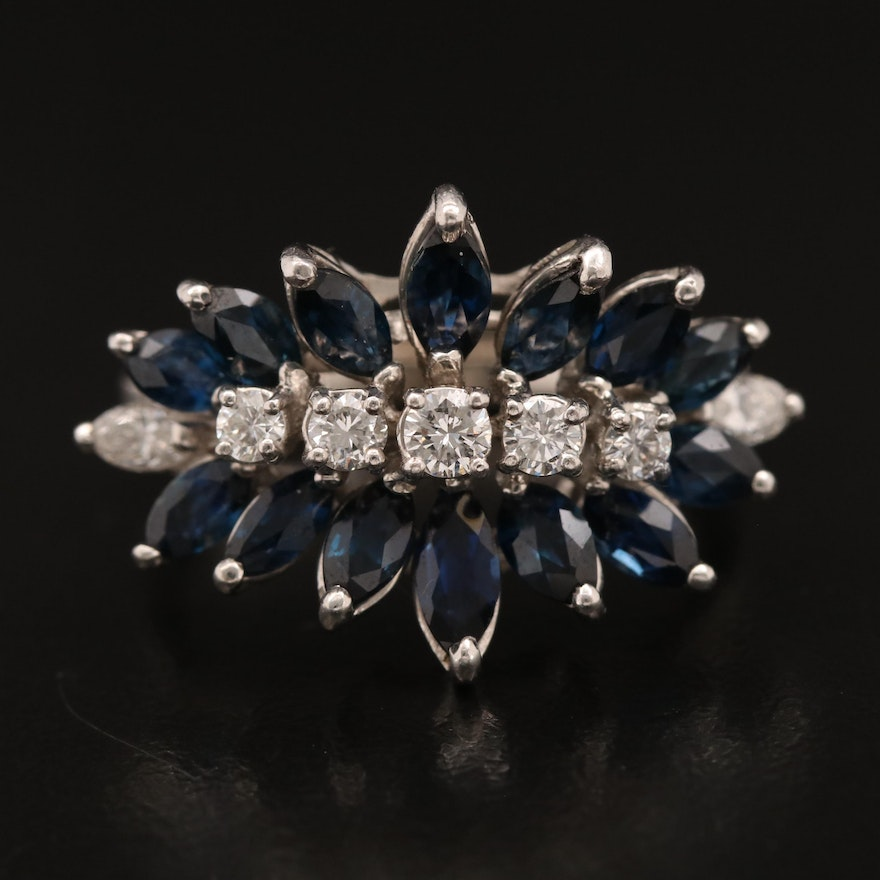 Vintage Sapphire and Diamond Ring with 14K Arthritic Shank