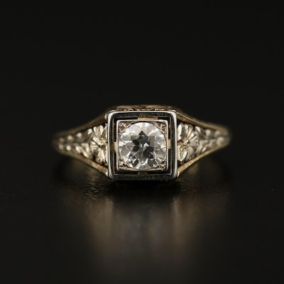 Art Deco 14K 0.39 CT Diamond Solitaire Ring with Floral Motif