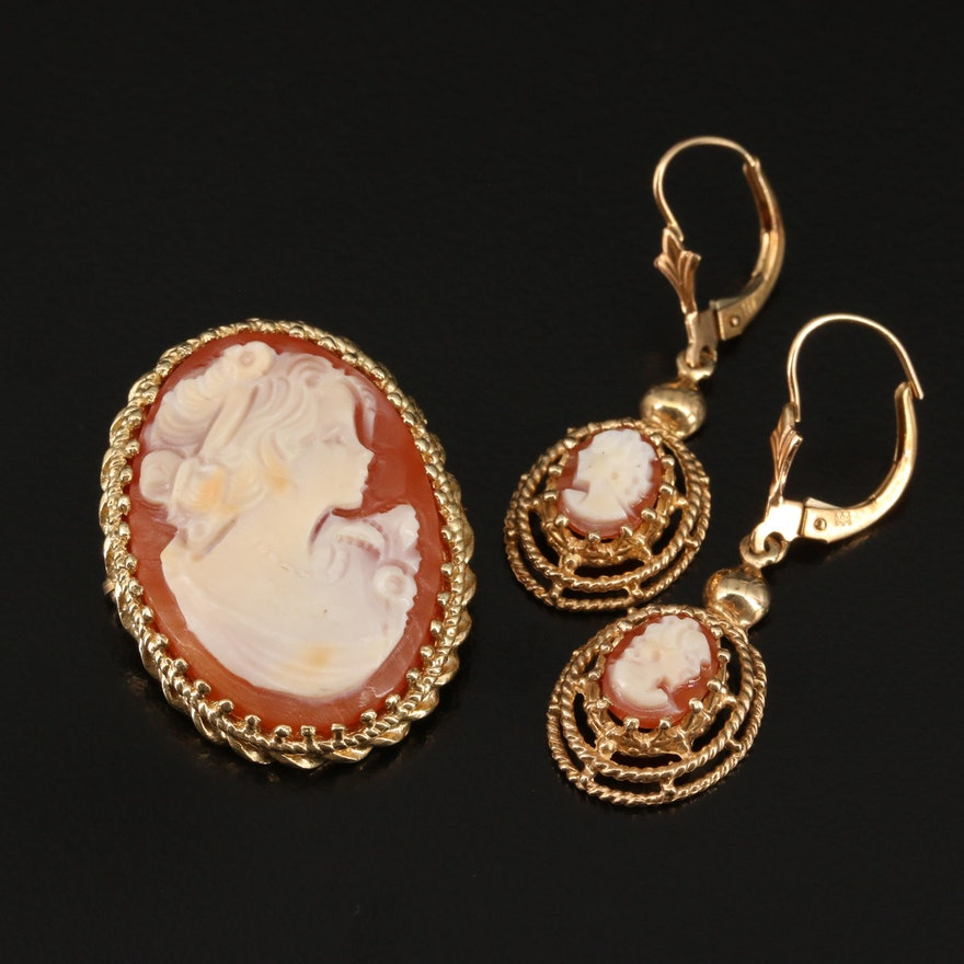 14K Shell Cameo Dangle Earrings and Converter Brooch