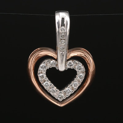 14K Diamond Double Heart Pendant