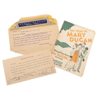Ephemera Featuring Norma Shearer, Helen Hayes and Constance Collier, 1920s-1930s