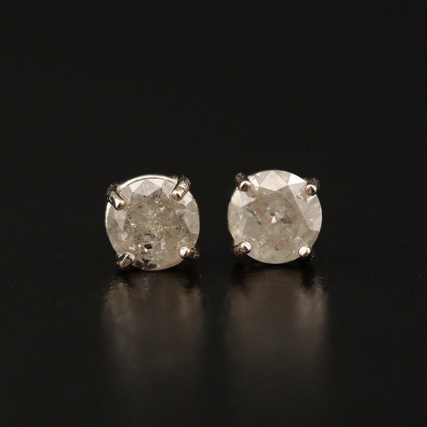 14K 1.01 CTW Diamond Solitaire Stud Earrings