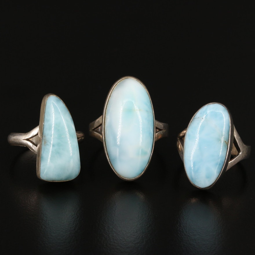 Sterling Silver Larimar Cabochon Rings