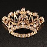 14K Diamond Crown Converter Brooch