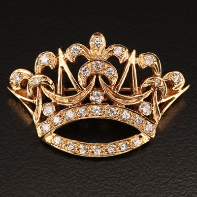 14K Diamond Crown Converter Brooch