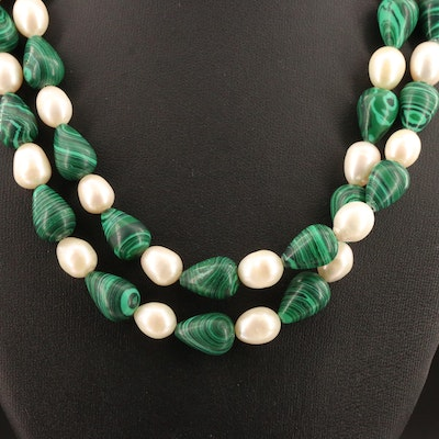 Pearl and Faux Malachite Beaded Endless Necklace