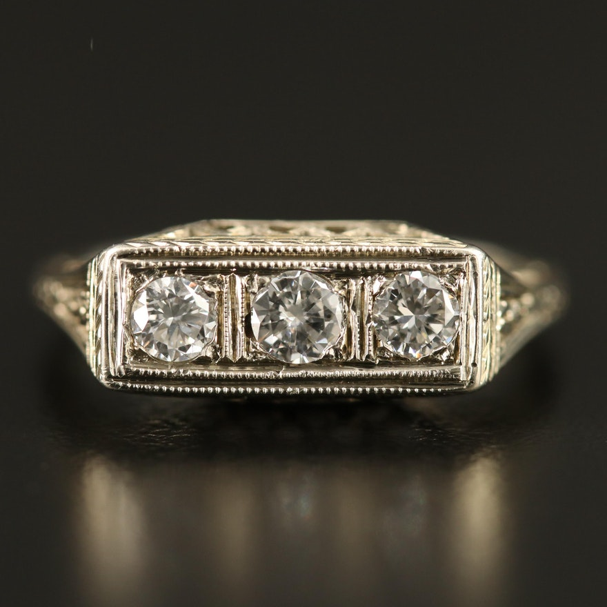 Art Deco 18K Diamond Ring with Openwork Foliate Setting