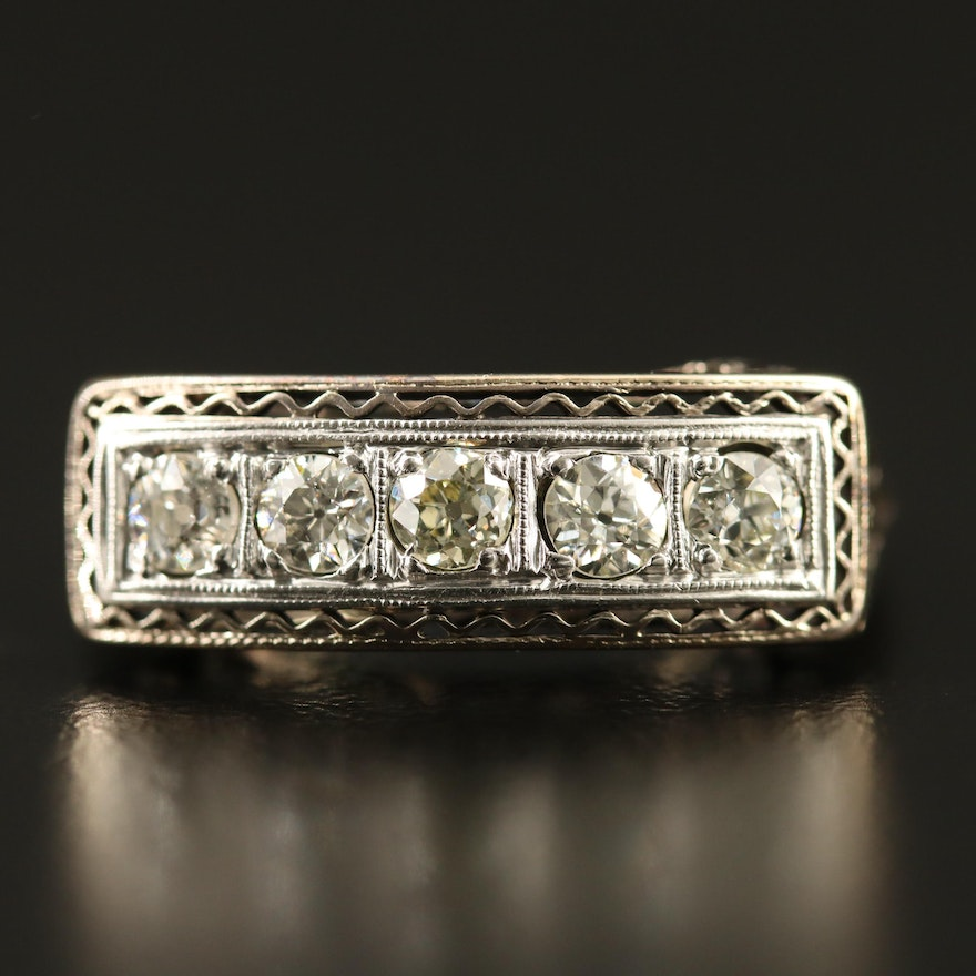 Art Deco 14K Diamond Ring with an Openwork Scrolled Setting