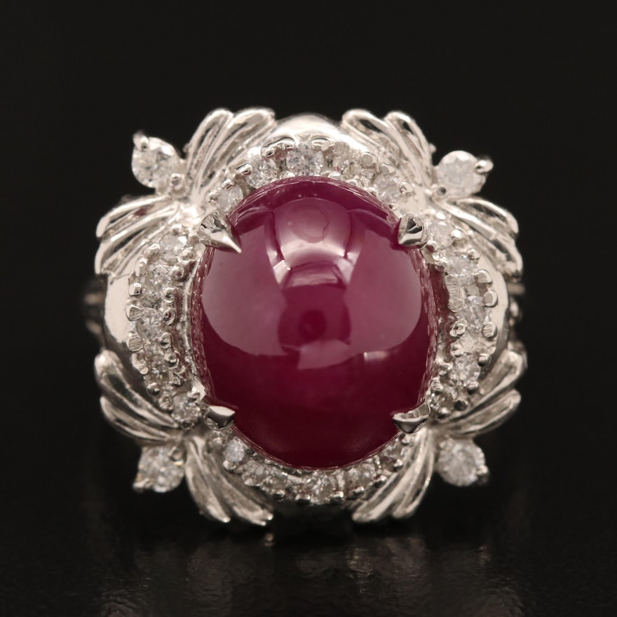 Platinum Ruby Cabochon and Diamond Ring with GIA Certification