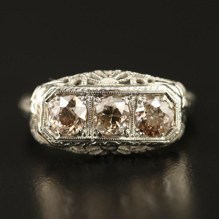 Edwardian 18K 1.03 CTW Diamond Filigree Ring with Wheat Sheaf Shoulders