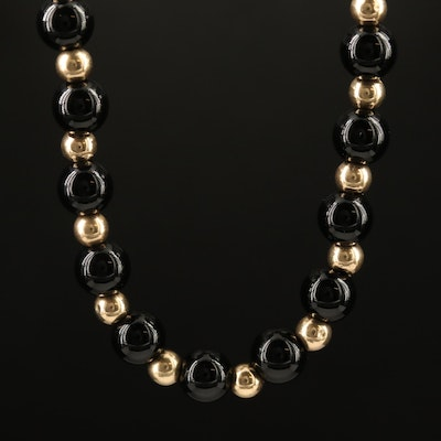 14K Black Onyx Beaded Necklace