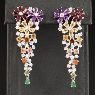 Sterling Rhodolite Garnet, Amethyst and Emerald Floral Dangle Earrings