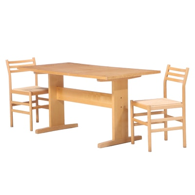 Three-Piece Modernist Blondewood Dining Set, Mid to Late 20th Century
