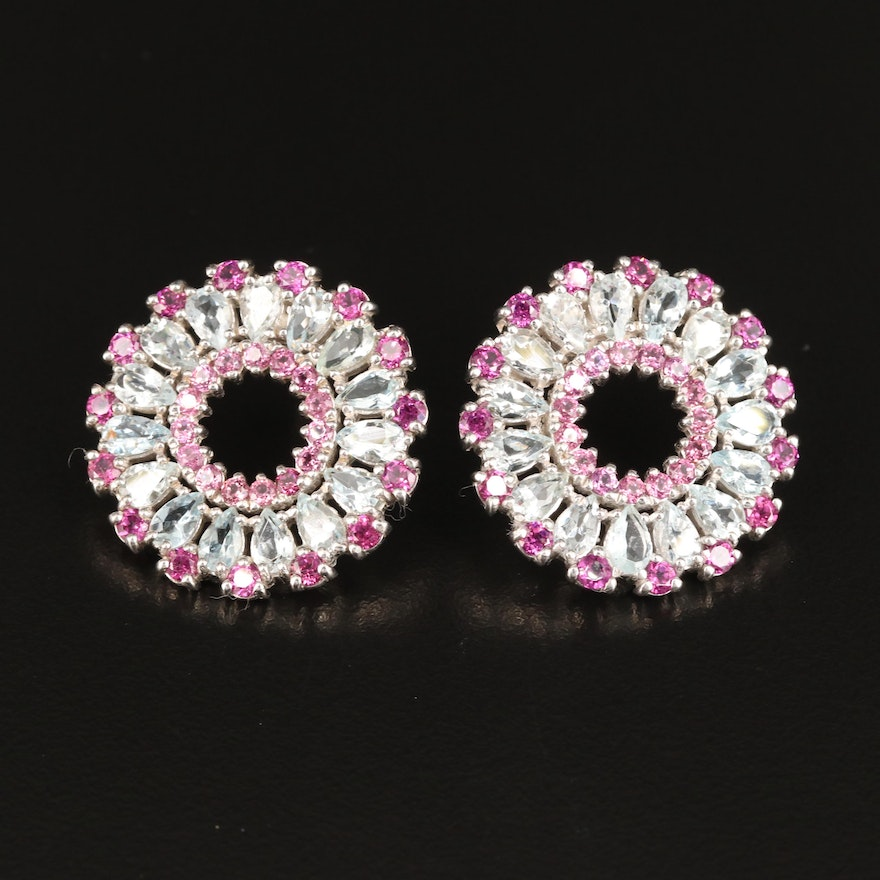 Sterling Rhodolite Garnet and Aquamarine Button Earrings