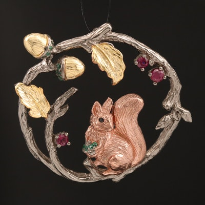 Sterling Ruby, Garnet and Cubic Zirconia Squirrel and Acorn Foliate Pendant