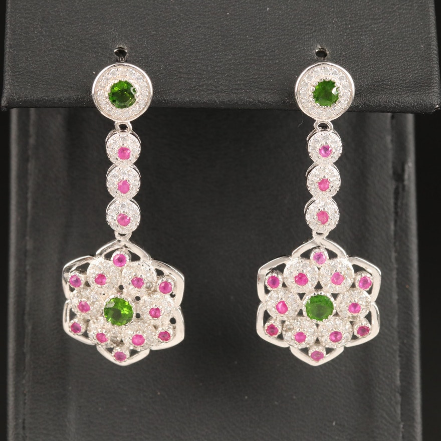 Sterling SIlver Diopside, Ruby and Cubic Zirconia Dangle Earrings
