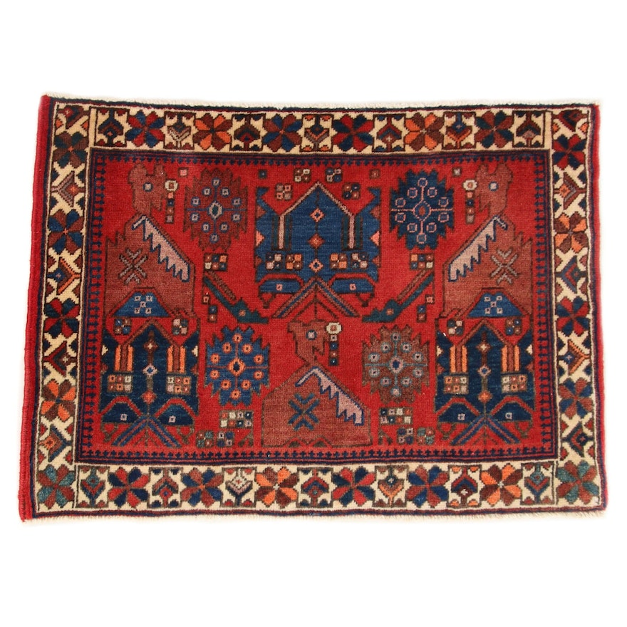 1'11 x 2'8 Hand-Knotted Persian Afshar Rug, 1970s