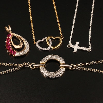 Sterling Silver Necklaces, Bracelet and Pendant with Ruby and Diamond Accents