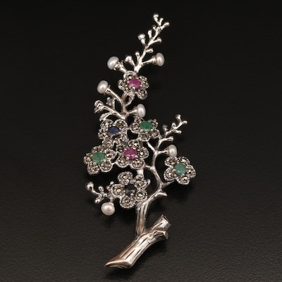 Sterling Pearl, Emerald, Ruby and Marcasite Branch Brooch